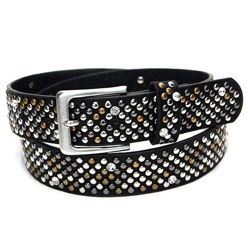 2018 Fashion Jeweled Studded Cow Skin Leather Belts for Man and Women