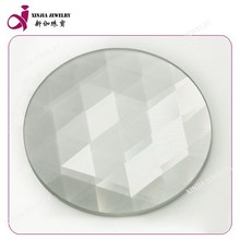 Thin round shape white glass triangle grid cut gem stones africa