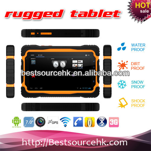 "Rugged tablet 7"" tablet pc android 4.1 back and front camera rugged tablet PC M76 IP65 Bluetooth Wifi GPS 3G HDD 1G 4G-md"