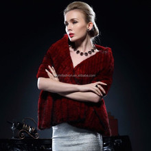 2017/2018 New Product Genuine Women Knitted Mink Fur Stole for Fashion Ladies with Cheap Price