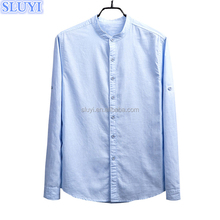 2017 new fashion design brand names men's dress shirts chinese collar slim fit long sleeve casual cotton linen shirts for men