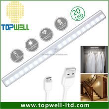 Stick-on Anywhere Step Wireless Rechargeable 20 LED Motion Sensor Lighting Bar with Magnetic Strip for Closet, Cabinet, Drawer