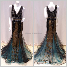 China Supplier V neck Appliqued Lacework wedding and evening dress prom withe lace