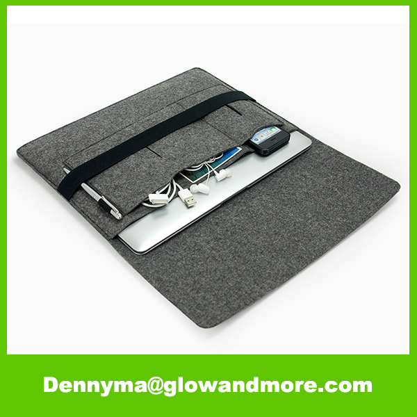 "Felt Case Pouch with 2 Pocket Inside for 11"" Laptop Felt Laptop Sleeve"