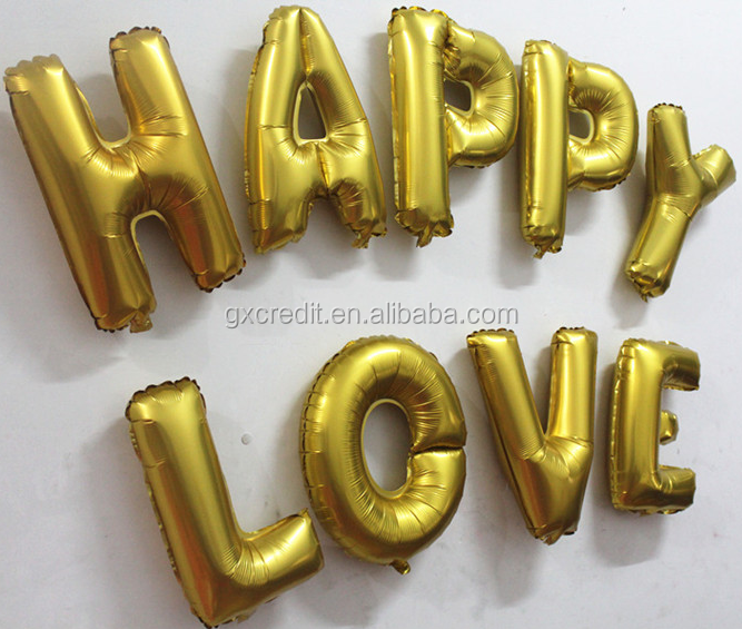 40 inch golden foil letter balloons for events decoration