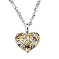 Women's Yellow Sapphire Necklaces , Bling Heart Shape Diamond Necklace