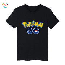 Pokemon Go Short Sleeve T shirts Printing Mens Summer Anime Pokemon Tee shirt Blank Cotton Black Men Tee Tops Wholesale