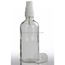 Facial Makeup Glass Bottles, Comestica Use 100ml Clear Euro Dropper Bottle with 18mm White Atomiser Spray Cap