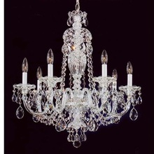 6 Lights Silver Classical Candle Crystal Chandelier Pendant for Wedding Hotel Hall