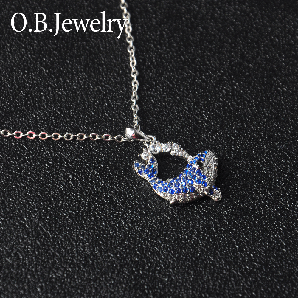 Cute design new arrival brass dolphin pendant necklace