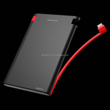6000MAH 2.5A OUTPUT & 2A INPUT power bank /Bulid-in-Cable battery charger/portable power bank ce certificate