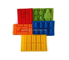 Silicone Building Bricks and Minifigure Molds for Ice Cubes Candy Chocolate Crayon
