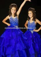 Cheap halter beaded royal blue ruffled ball gown custom-made little girls pageant dress CWFaf4786