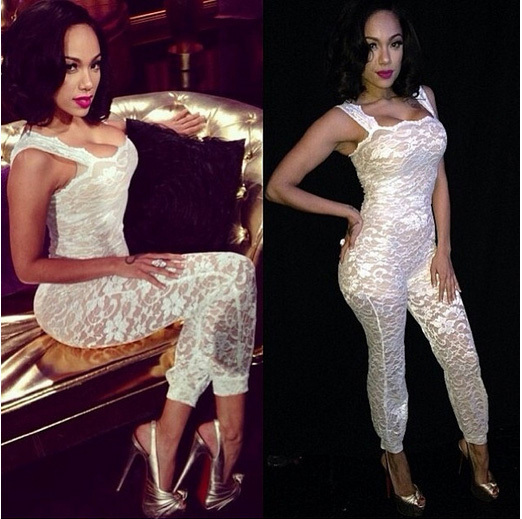 American Apparel Celebrity Sexy Party Bodycon White Women Brand New Lace Jumpsuit Playsuit 2016 New Overalls