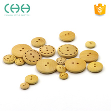 2017 High-end boxwood material small nature 2 hole flatback wooden buttons