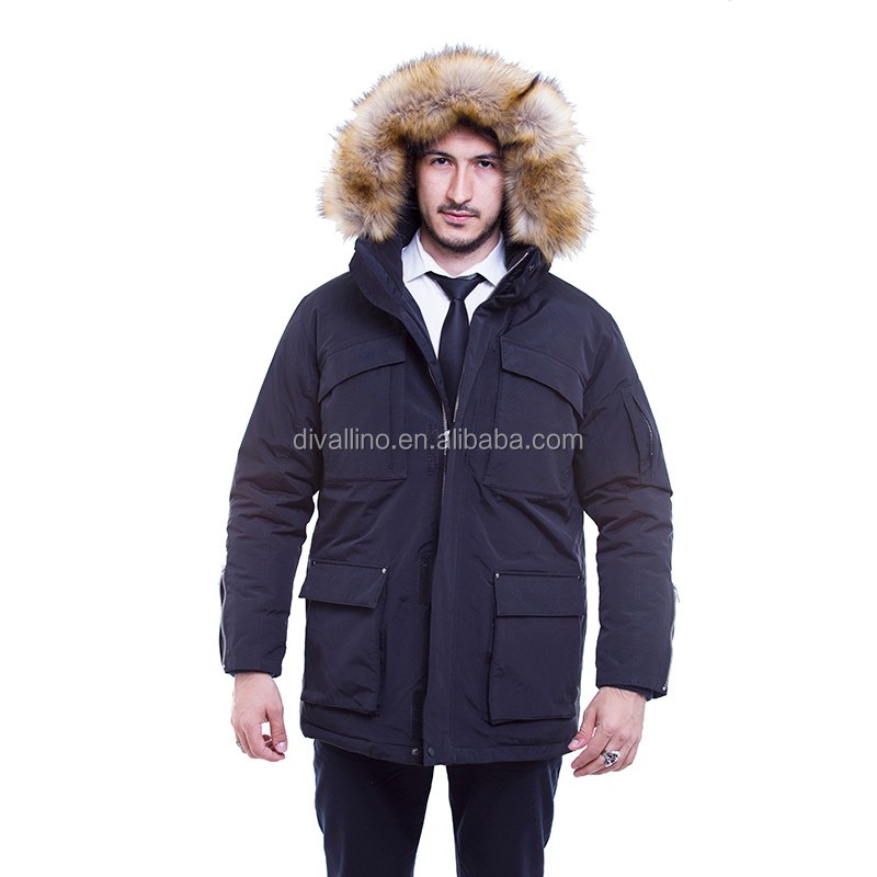 2017 One-Stop Factory of Fur Trim Down-Filled Parka and Winter Coat For Men
