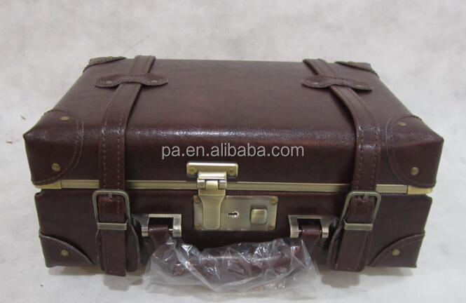vintage PU leather travel carryon suitcase/ organizer /case