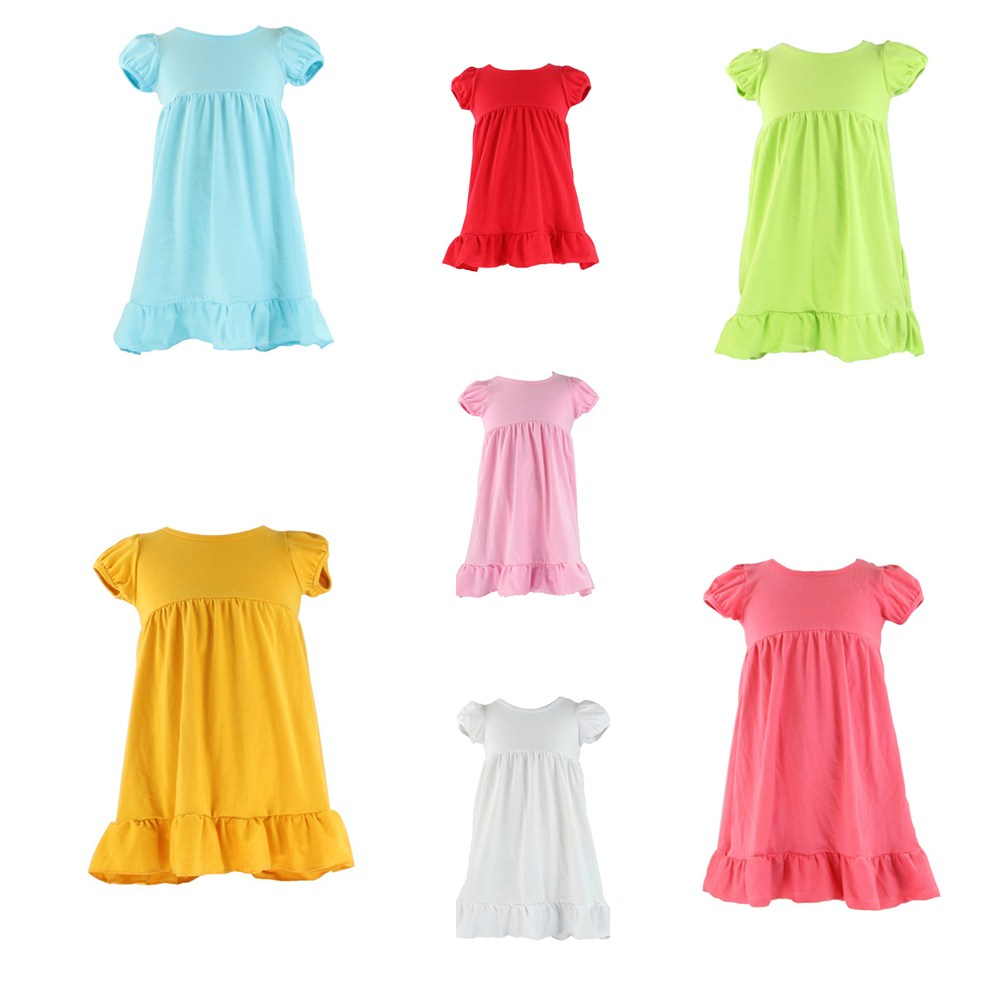 2017 baby wear pure solid many colors kids lovely girls party dresses children frocks designs