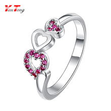 Wholesale Chearp Heart to Heart O Ring 4 Colors Cz Stone 2.5 Gram Engagement Silver Gold Wedding Ring LSPR017