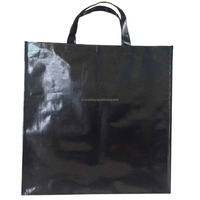 waterproof customized blank black pp woven shopping bag