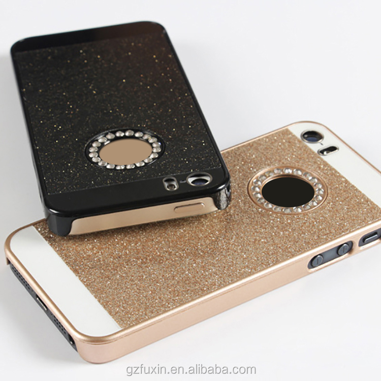 Bling glitter powder shining diamond hard pc case for iphone 4/4s/5/5s/6/6s/6p/SE crystal strass rhinestone handmade cover