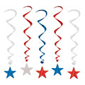 Patriotic STAR Dangling Hanging Ceiling Decoration Red White Blue Party