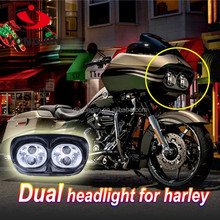 Motos Accessories Road glide LED Headlight High Low Beam Double Headlight for Harley Dual LED Headlight Assembly