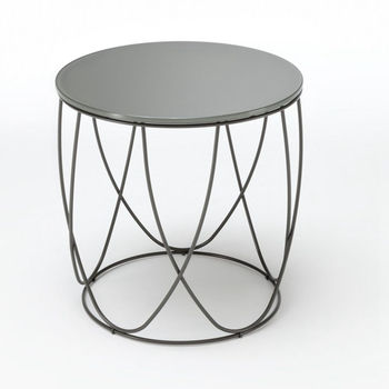 home furniture round coffee table metal frame glass top tea table