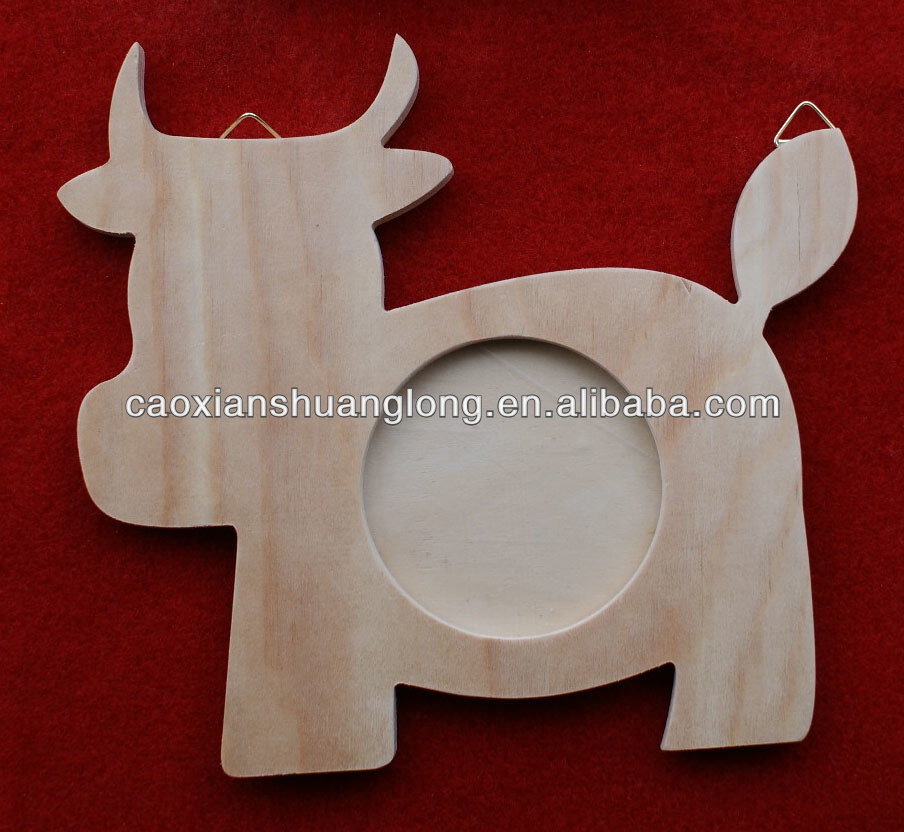 New carved wooden crafts wall hanging cow shape picture photo frame