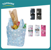 Toprank Cheap Custom Printed Folding 210D Polyester Tote Shopping Bag Reusable Foldable Shopping Bag Wholesale