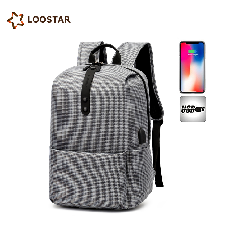 Newest Waterproof Houndstooth 2018 <strong>Backpack</strong> with USB Charging Port