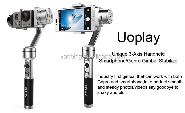 Uoplay 3 Axis handheld gimbal stabilizer For smartphone and Go-pro sports camera