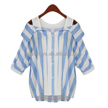 New arrival plus size strapless stripe shirts ladies loose cotton- linen shirts