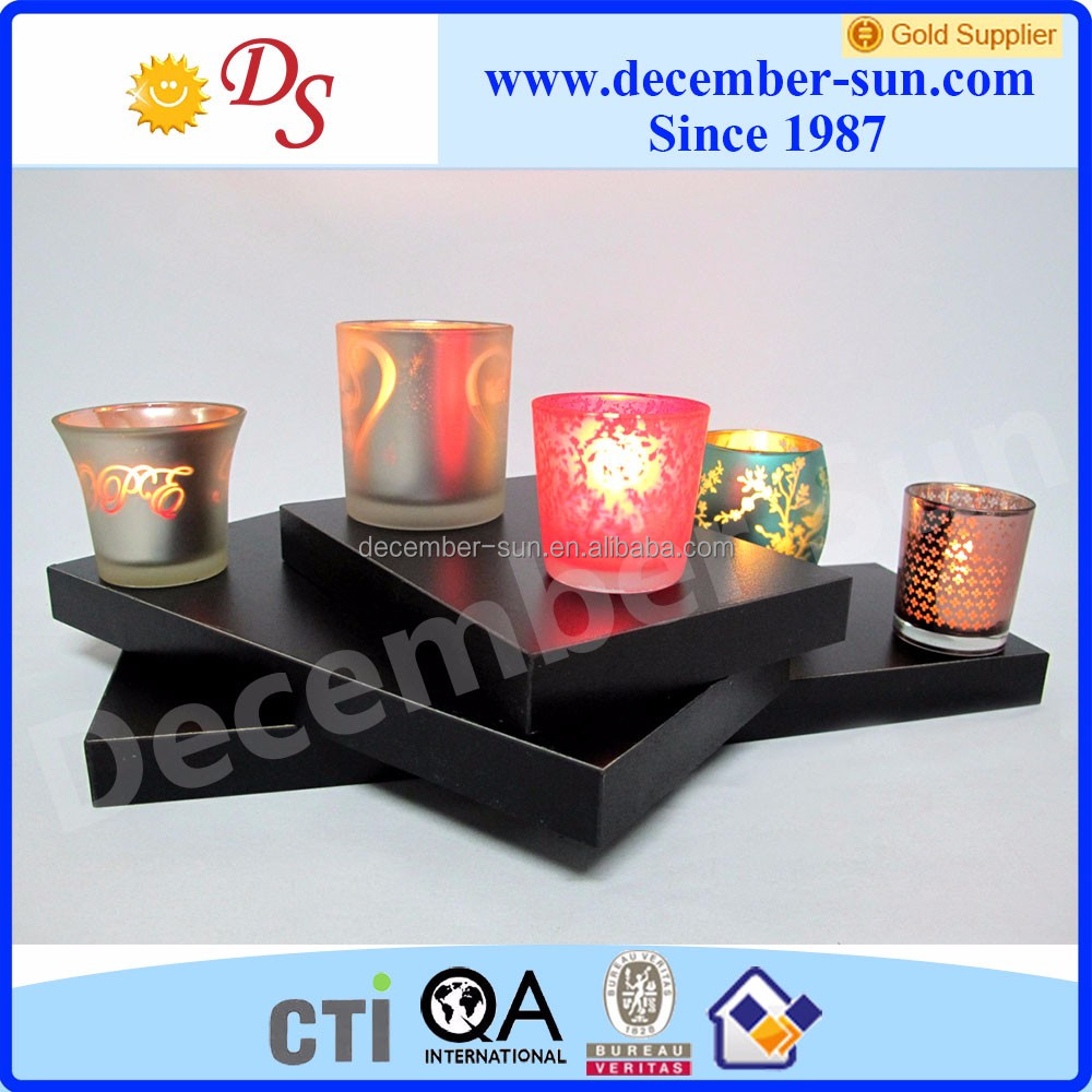 High quality fancy frosted glass jars for candle making