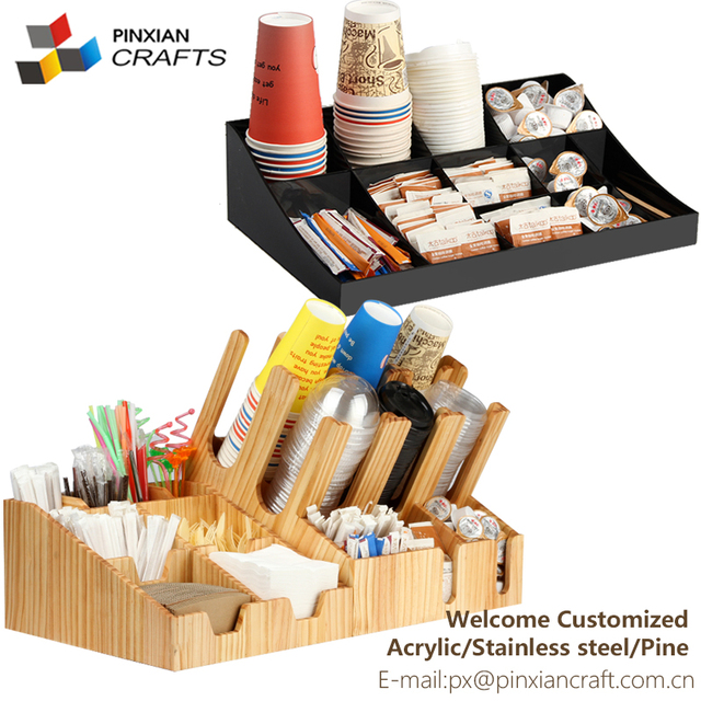 Conference Room snack shop Organizer plastic Cup stent condiment frame wall straw sugar pod Coffee Cup Lid holder Dispenser