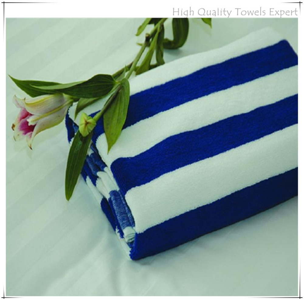 Blue white stripe printed 100% cotton beach towel pool towel