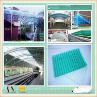 UV coating 10 years warranty clear plastic roofing panels twin-wall polycarbonate hollow sheet