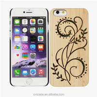 Custom hollow out design wood and PC dot view case for iphone 6.