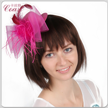 beautiful pink flower girl fair feather headdresses