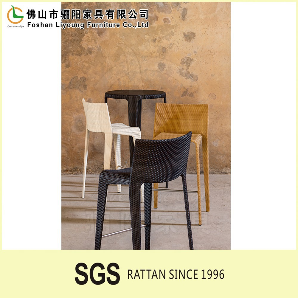Black Friday promotion rooftop waterproof outdoor metal rattan bar stool LG-S-154