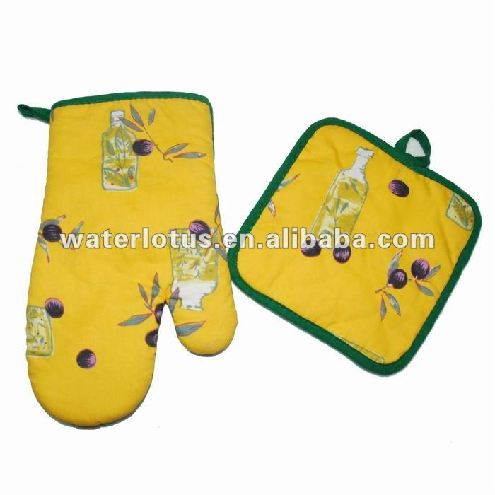 kitchen accessories 100% cotton oven mitt and square pot holder