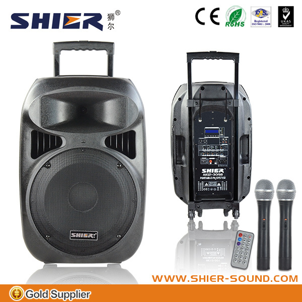 SHIER 12-309B portable pa system rechargeable battery for moto speaker with USB/SD/MMC player