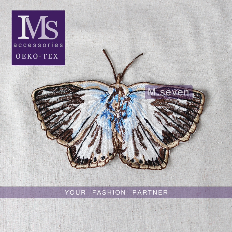 Vogue design 18*22cm butterfly patch embroideried in brown