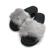 Fashionable Soft And Comfy Fluffy Women Ladies Indoor Imitation fox hair Fur Slippers 2017 PVC Slippers