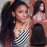 Top Quality Coarse Yaki Straight Full Lace Wigs Indian Human Hair Full Lace Wig Kinky Straight For Black Women