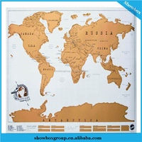 88*52cm Scratch Off Map Custom Size Travel Scratch Map China OEM Supplier
