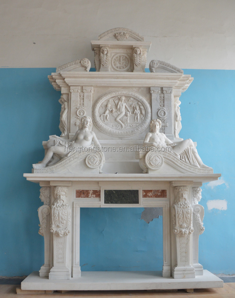 French style double layer white marble fireplace mantel for Marble mantels for sale