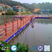marine plastic floating water deck platform for resort