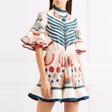Fashionable women clothes bell sleeve normal beautiful lady digital print casual dress