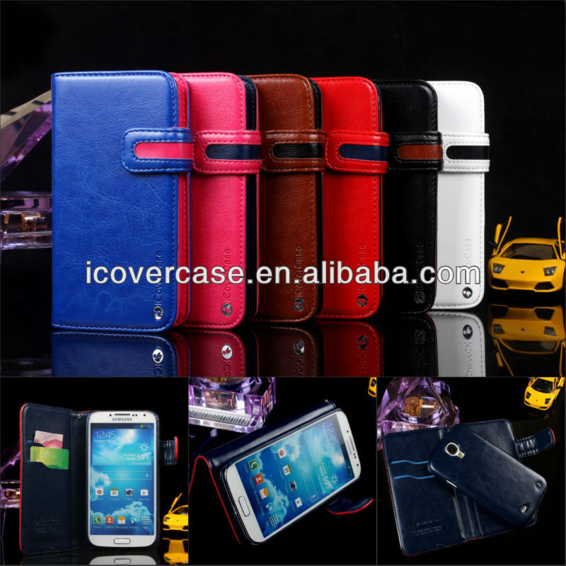 for samsung galaxy s4 i9500 iCoverCase 2 in 1 crazy horse leather wallet flip case cover with 6 colors